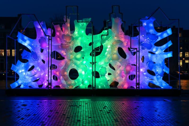 Het Lichte Festival 2016 van Amsterdam - Wortelstokhuis royalty-vrije stock foto