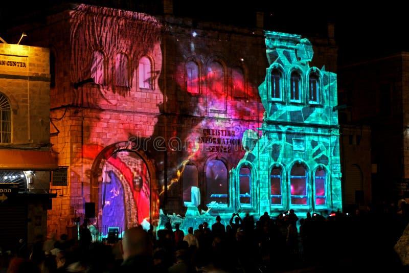 Het lichte festival van Jeruzalem stock afbeelding