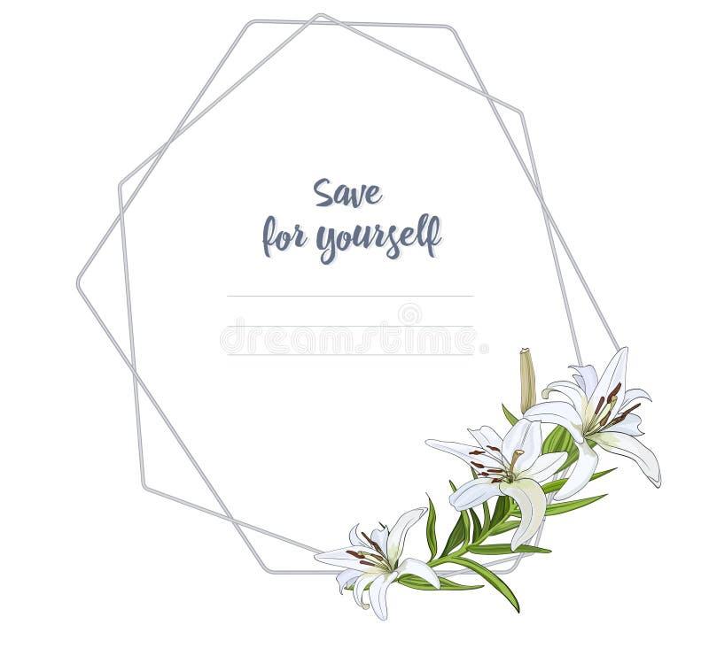 Het lichte kader voor gelukwensen, uitnodigingen met een boeket van witte lelie bloeit Vector vector illustratie