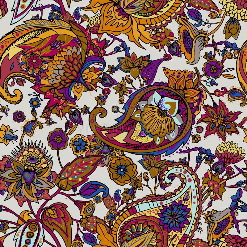 Het lichte moderne naadloze patroon van Paisley Gebaseerd op de tradities van oosterse patronen royalty-vrije illustratie