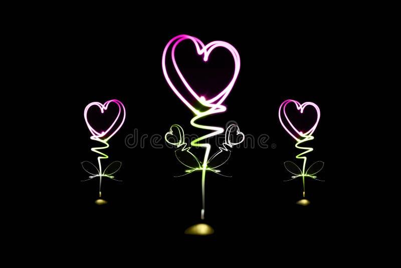 Het lichte schilderen in hartvorm royalty-vrije stock foto's