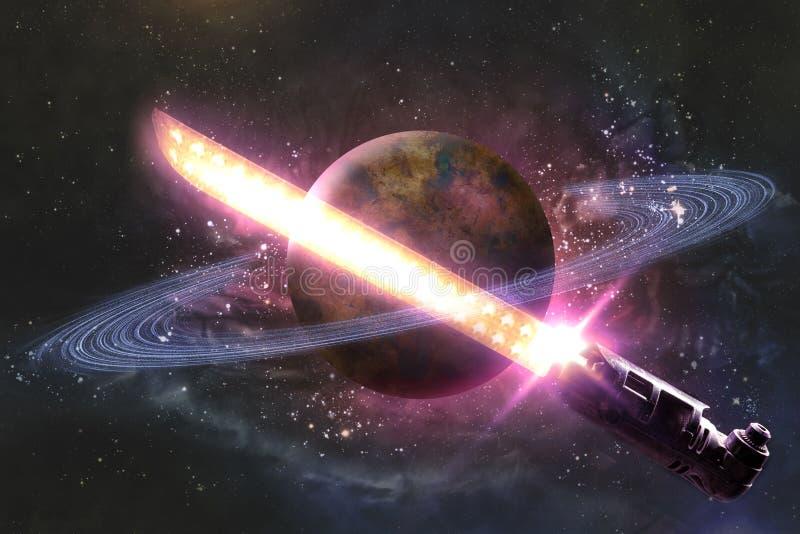 Het Lichte Zwaard van planeetsaturn stock foto