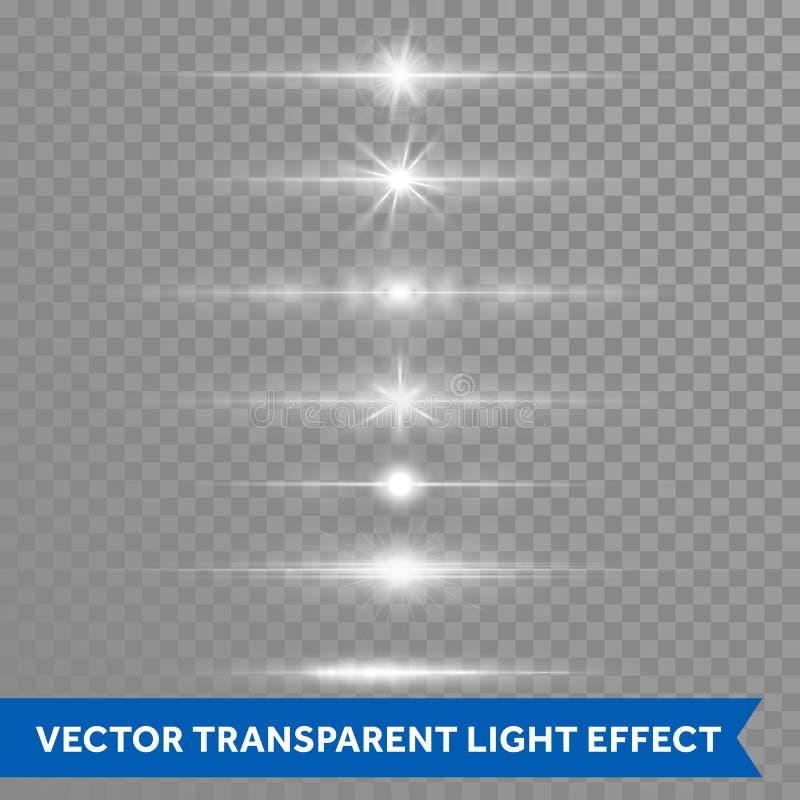 Het lichteffect of de ster glanst geïsoleerde de pictogrammen transparante achtergrond van de lensgloed vector stock illustratie