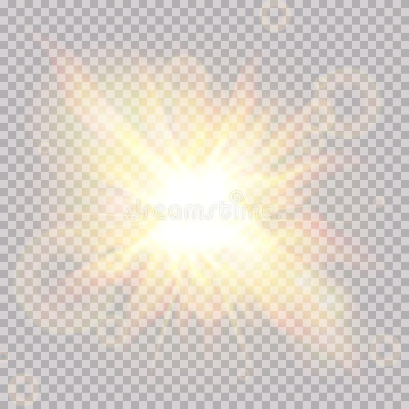 Het lichteffect van de lensgloed Zonstralen met stralen op transparante achtergrond worden geïsoleerd die Vector illustratie stock illustratie