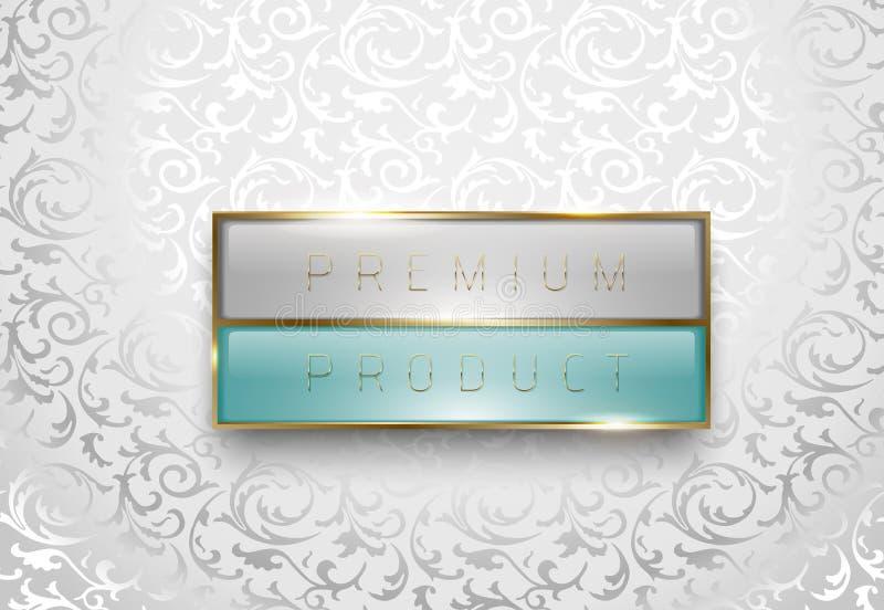 Het lichtgrijze en groene etiket van het premieproduct met gouden kader op witte bloemenachtergrond Malplaatje van het luxe het g stock illustratie