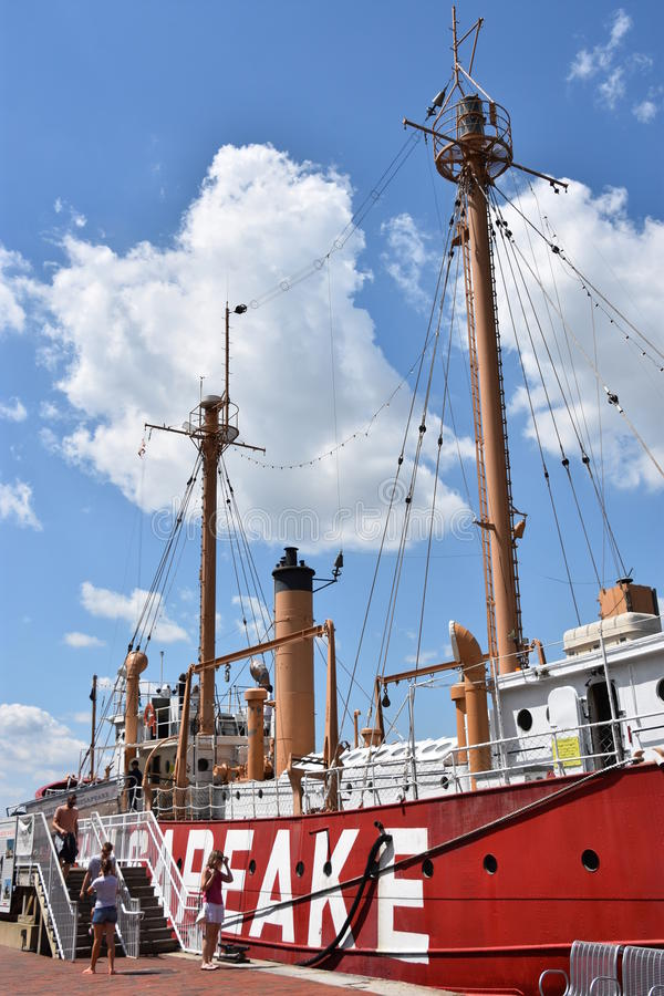 Het lichtschipchesapeake lv-116 van Verenigde Staten in Baltimore, Maryland stock foto