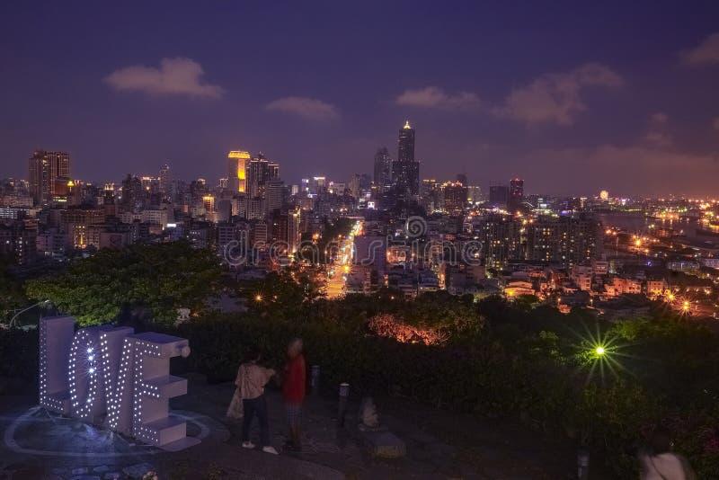 Het liefde het bekijken platform van Martelaren` Heiligdom, één van beroemde aantrekkelijkheden in Kaohsiung-Stad, Taiwan stock afbeeldingen
