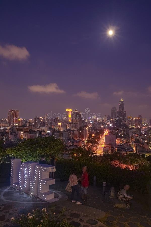Het liefde het bekijken platform van Martelaren` Heiligdom, één van beroemde aantrekkelijkheden in Kaohsiung-Stad, Taiwan royalty-vrije stock afbeelding