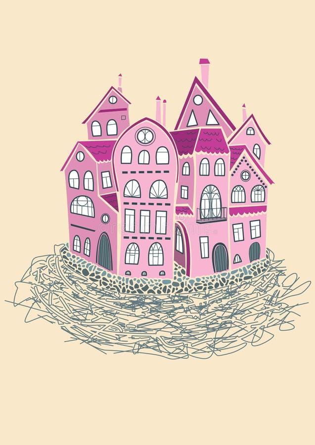 Het liefdenest is de vlakte in romantisch district vector illustratie