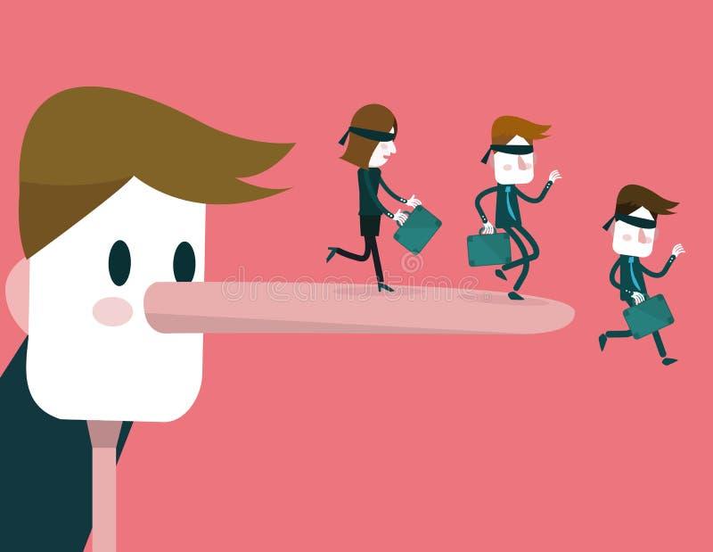 Het liggen de zakenman met lange neus maakt Bedrijfsmensen neer vallend royalty-vrije illustratie