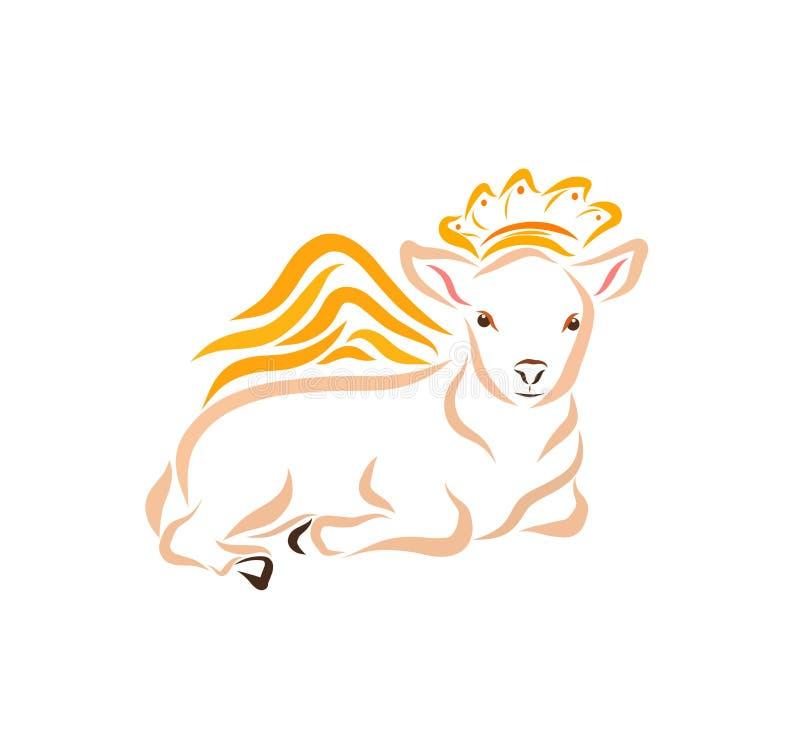 Het liggen gevleugeld lam in de kroon, symboliek stock illustratie