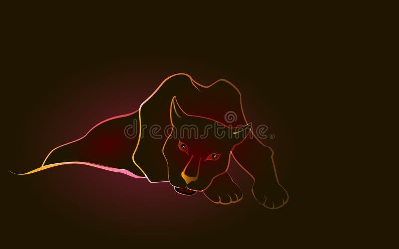 Het liggen liefje zwarte Panter op een donkere achtergrond EPS10 vectorillustratie stock illustratie