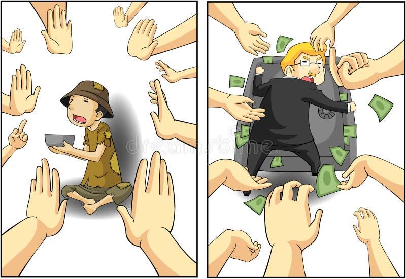 Het lijden tussen de rijke en slechte kerel. royalty-vrije illustratie