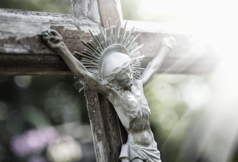 Het lijden van Jesus Christ-de godsdienst van het standbeeldfragment stock foto's