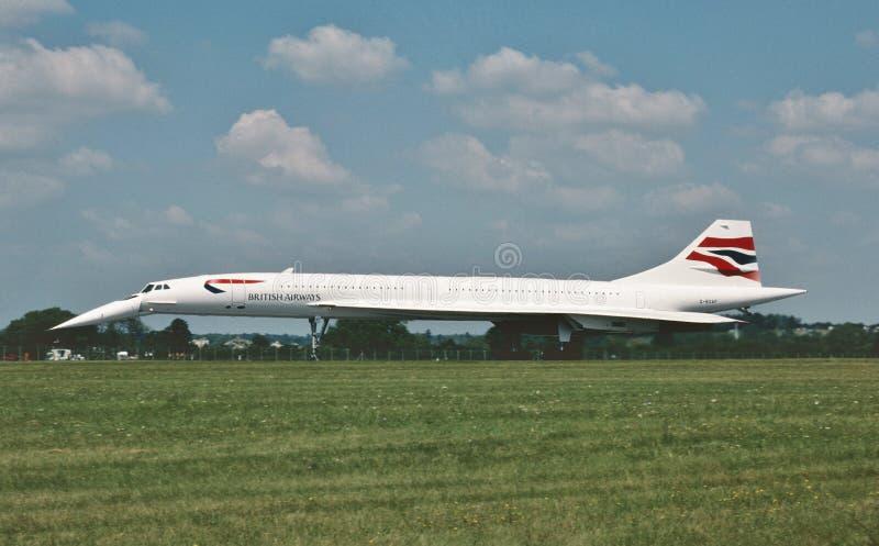 Het lijnvliegtuig van British Airways Concorde Supersonic na het landen op 19 Juli, 1997 stock foto's