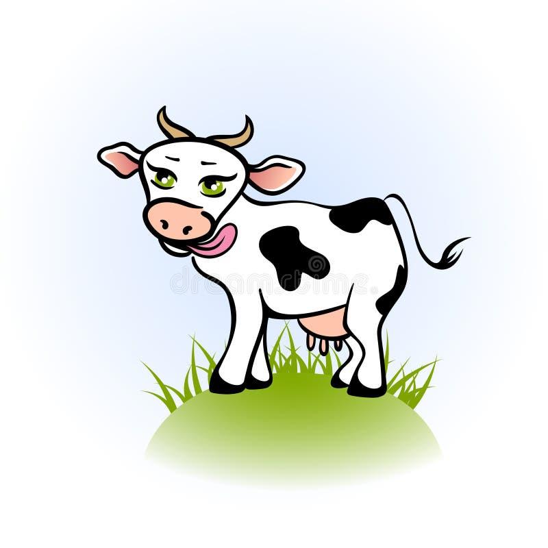 Het likken van koe op een groen gebied royalty-vrije illustratie