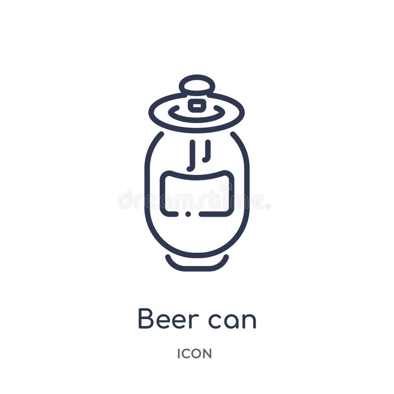 Het lineaire bier kan pictogram van de inzameling van het Gastronomieoverzicht Het dunne die lijnbier kan pictogram op witte acht vector illustratie