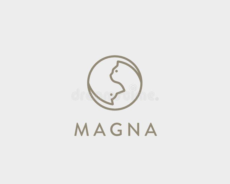 Het lineaire embleem van de hondkat ying yang Huisdieren vector slim idee logotype stock illustratie