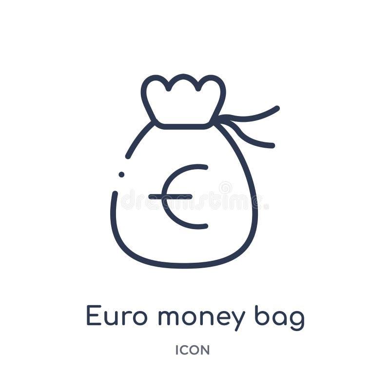Het lineaire euro pictogram van de geldzak van Bedrijfsoverzichtsinzameling Dun de zakpictogram van het lijn euro die geld op wit stock illustratie