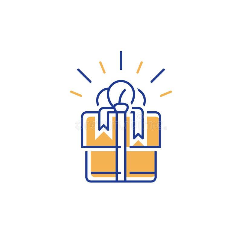 Het lineaire giftvakje pictogram, verrast heden, wint speciale prijs, terugkoopt gift, loyaliteitsprogramma, verdient beloning royalty-vrije illustratie
