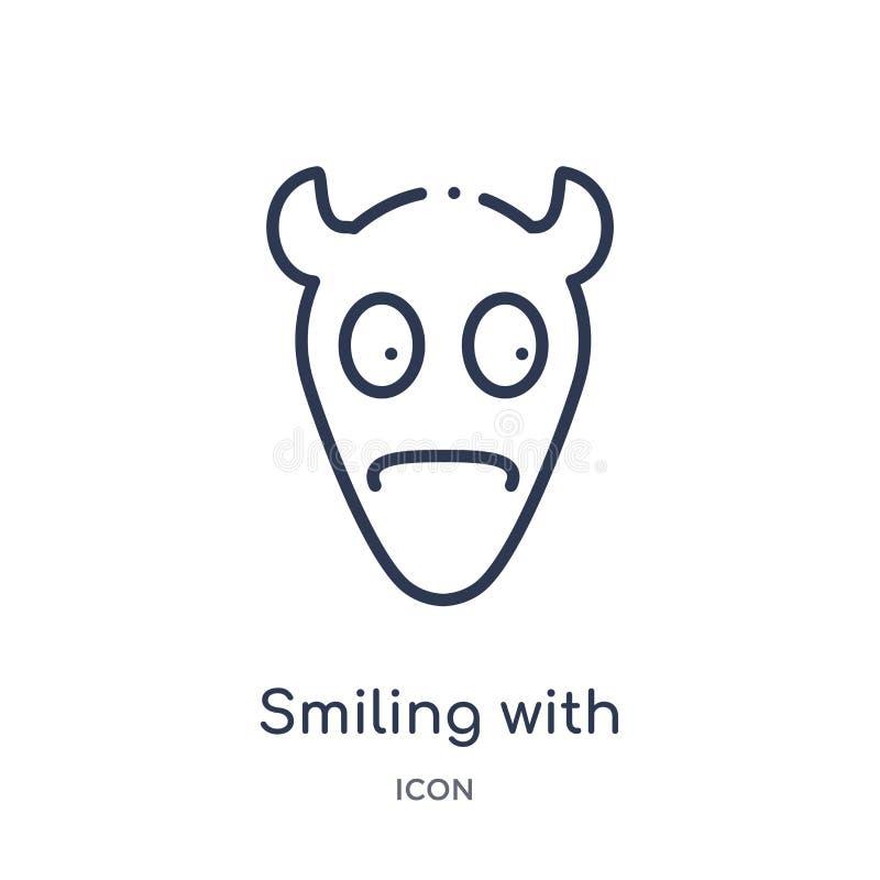 Het lineaire glimlachen met het pictogram van hoornenemoji van Emoji-overzichtsinzameling Dunne lijn die met de vector glimlachen stock illustratie