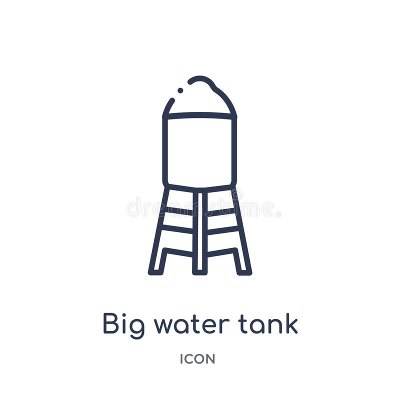 Het lineaire grote pictogram van de watertank van de inzameling van het Gebouwenoverzicht Dun de tankpictogram van het lijn groot royalty-vrije illustratie