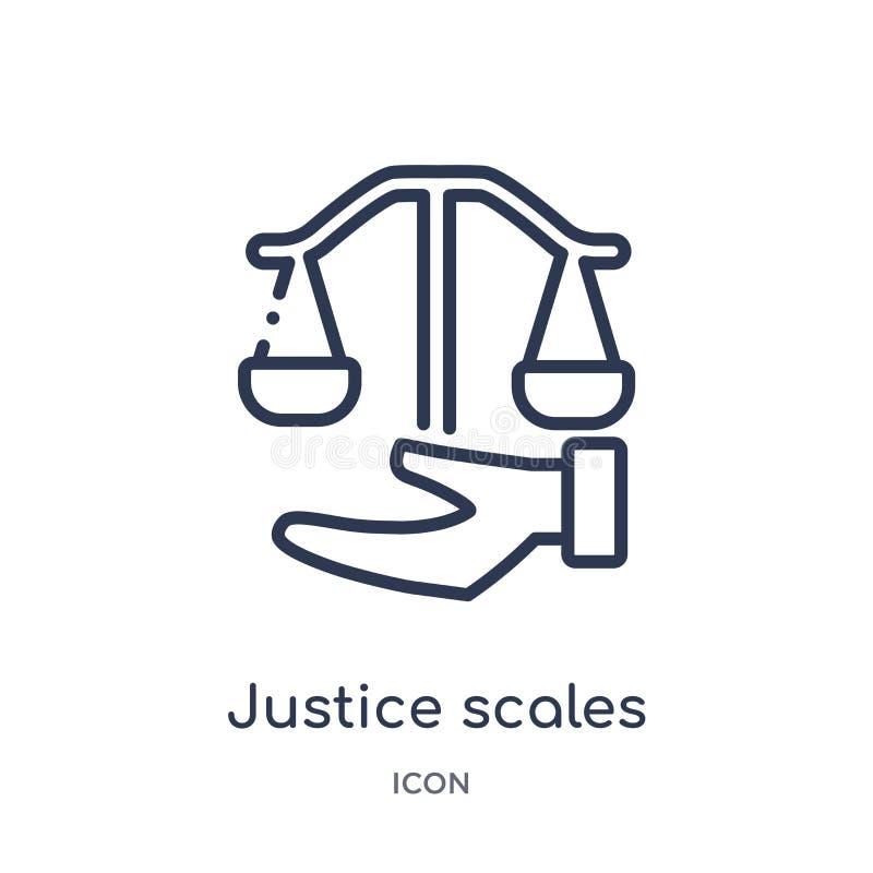 Het lineaire in hand pictogram van rechtvaardigheidsschalen van Wet en rechtvaardigheidsoverzichtsinzameling Dun geïsoleerd de sc royalty-vrije illustratie