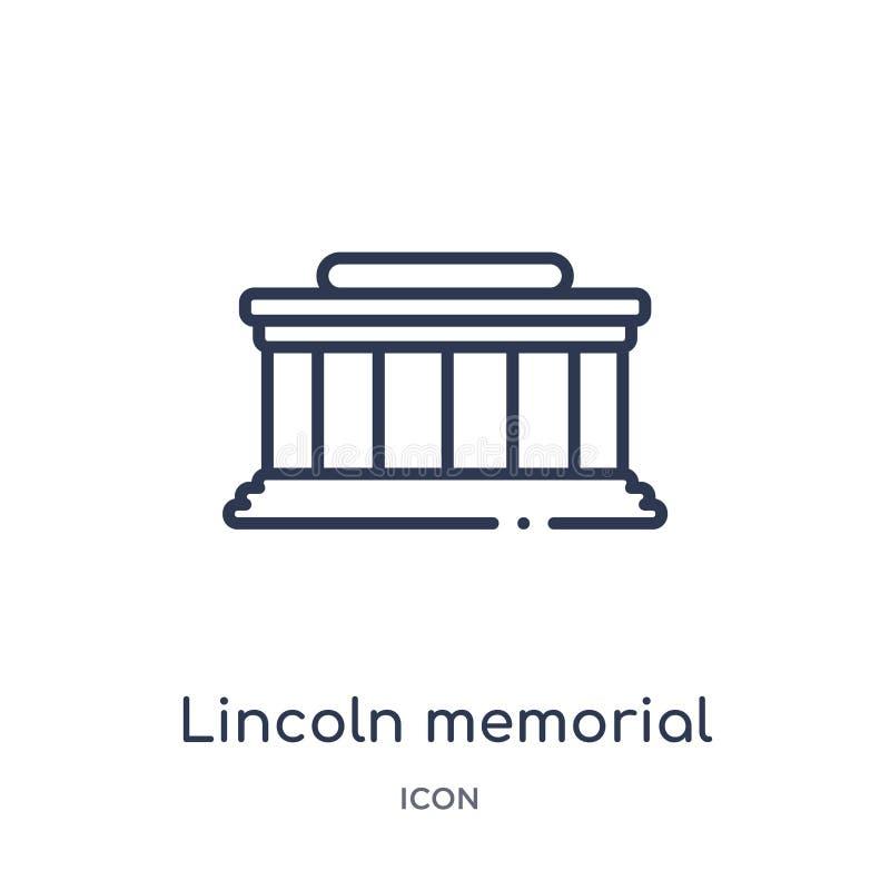 Het lineaire herdenkingspictogram van Lincoln van de inzameling van het Gebouwenoverzicht De dunne herdenkingsdievector van lijnl vector illustratie