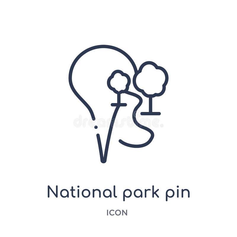 Het lineaire nationale pictogram van de parkspeld van Kaarten en plaatsenoverzichtsinzameling Dun de speldpictogram van het lijn  royalty-vrije illustratie