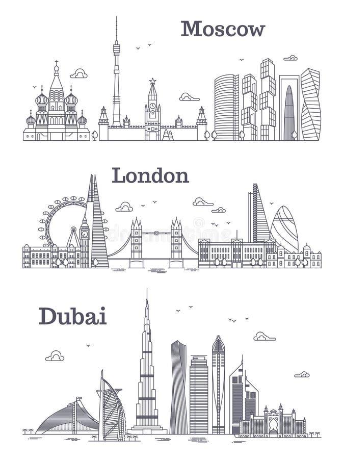 Het lineaire oriëntatiepunt van Moskou, Londen, Doubai vector illustratie