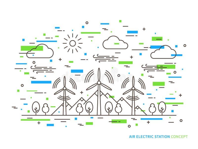 Het lineaire park van de de windenergie van de lucht elektrische post royalty-vrije illustratie