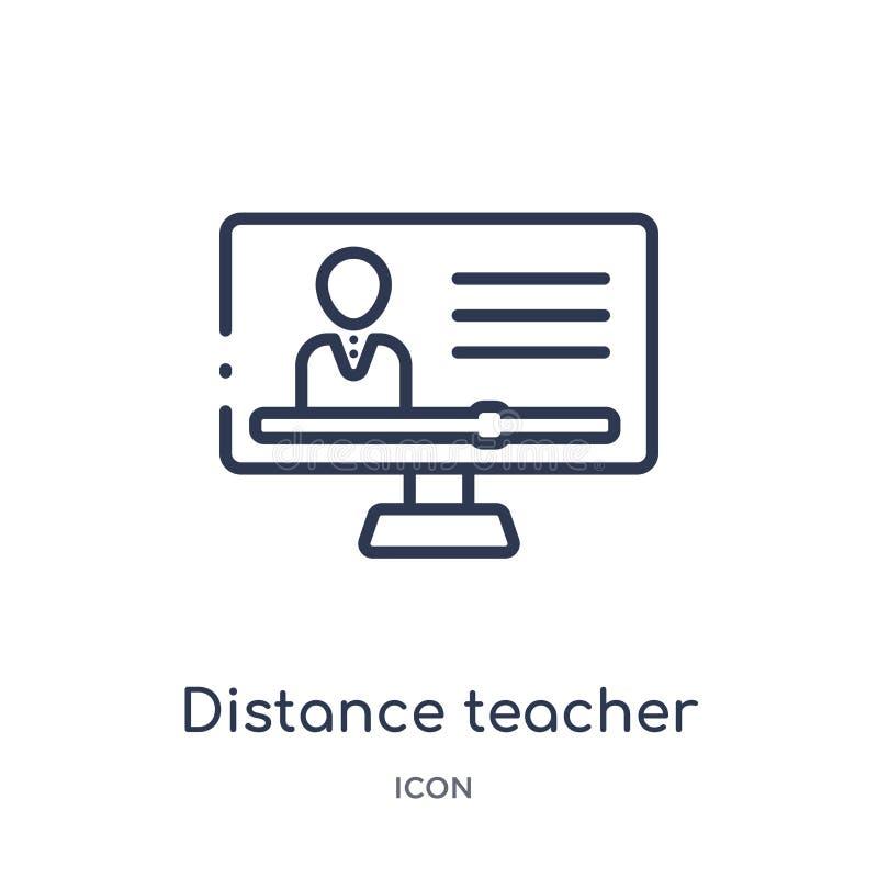 Het lineaire pictogram van de afstandsleraar van het overzichtsinzameling van Elearning en van het onderwijs Dunne die de leraars stock illustratie