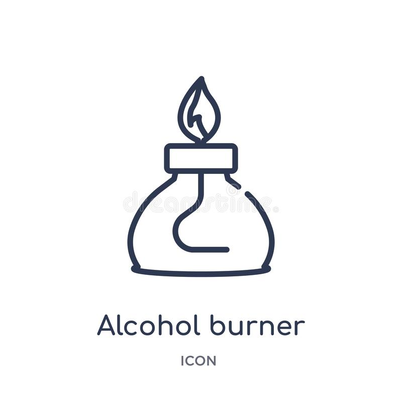 Het lineaire pictogram van de alcoholbrander van Algemene overzichtsinzameling Dun die de branderpictogram van de lijnalcohol op  vector illustratie