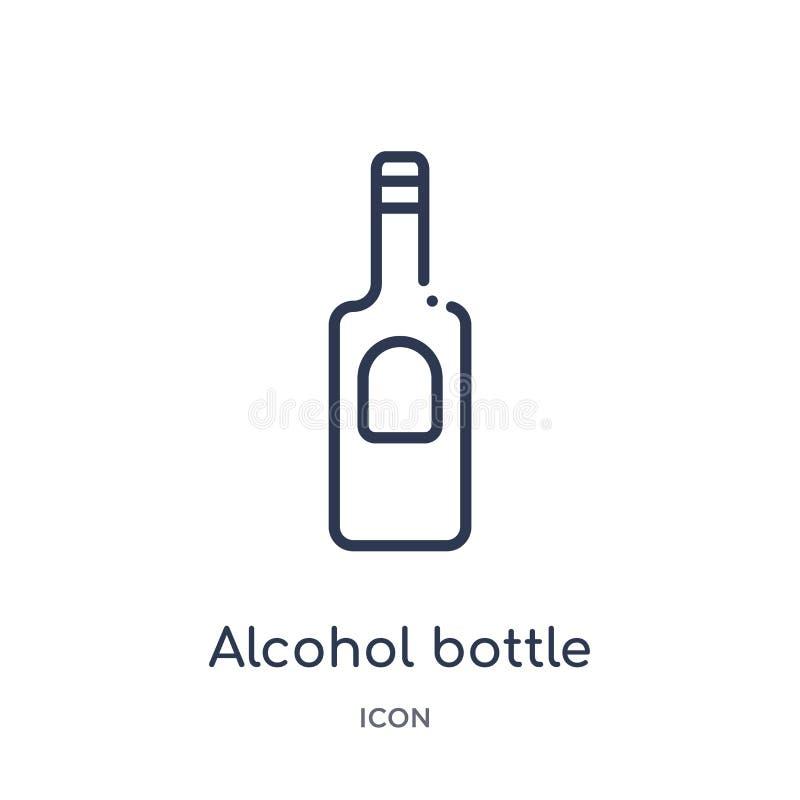 Het lineaire pictogram van de alcoholfles van de inzameling van het Woestijnoverzicht Dunne die de flessenvector van de lijnalcoh royalty-vrije illustratie