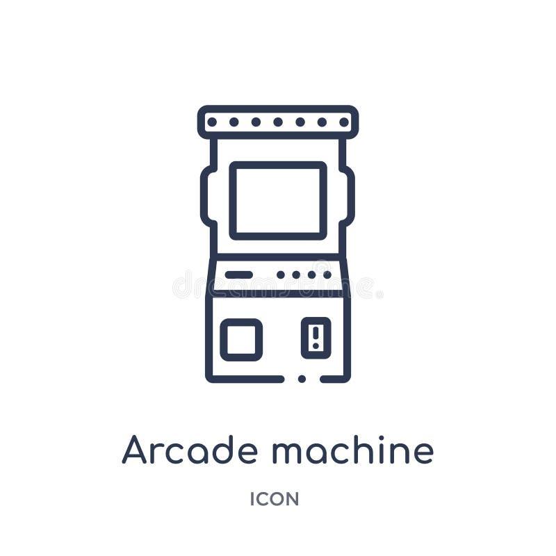 Het lineaire pictogram van de arcademachine van Vermaak en de inzameling van het arcadeoverzicht Dunne de machinevector van de li vector illustratie