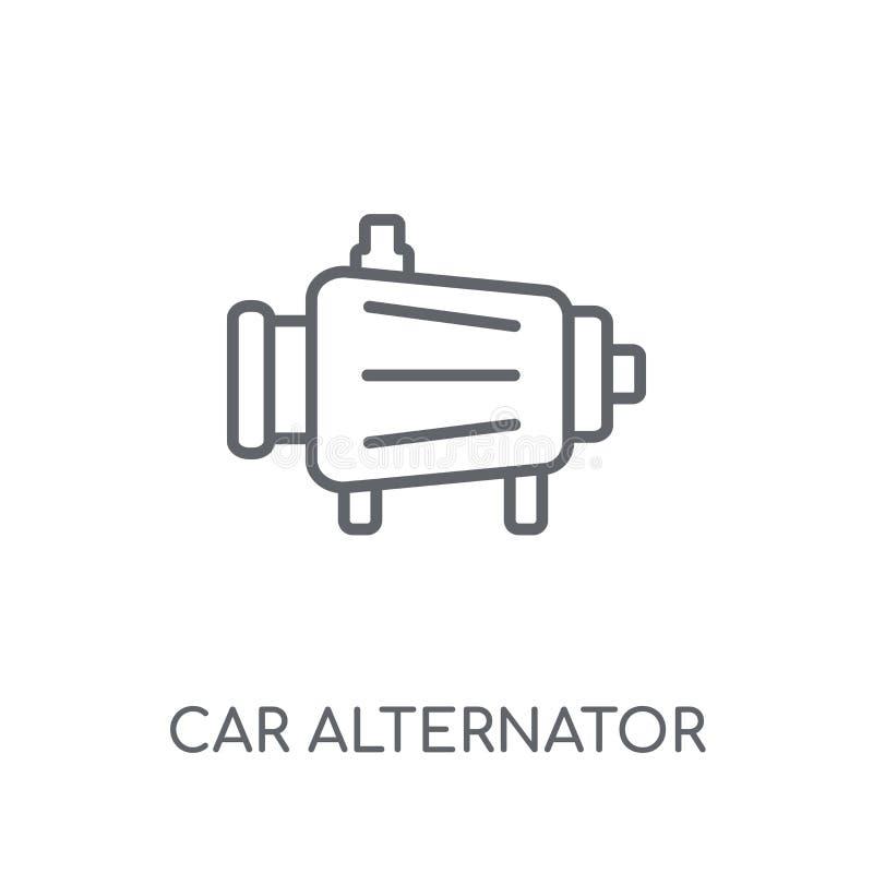 het lineaire pictogram van de autoalternator Modern de alternatorembleem c van de overzichtsauto stock illustratie