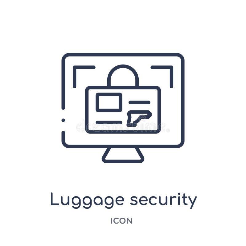 Het lineaire pictogram van de bagageveiligheid van inzameling van het Luchthaven de eindoverzicht Dunne die de veiligheidsvector  stock illustratie