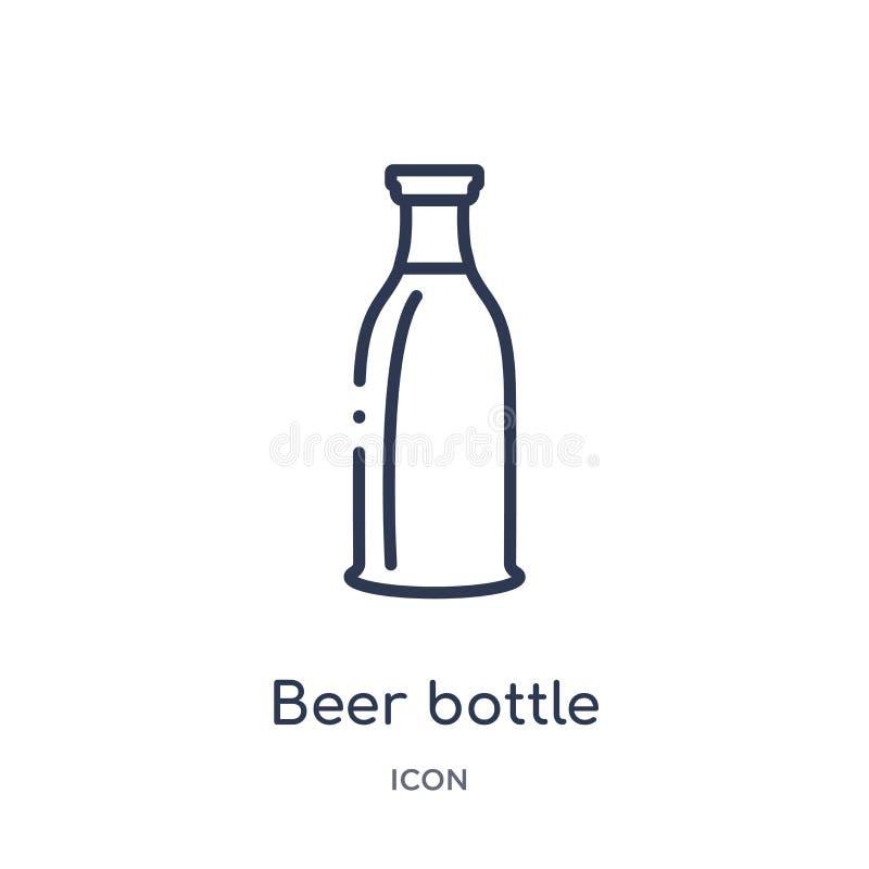 Het lineaire pictogram van de bierfles van de inzameling van het Alcoholoverzicht Dunne die de flessenvector van het lijnbier op  stock illustratie