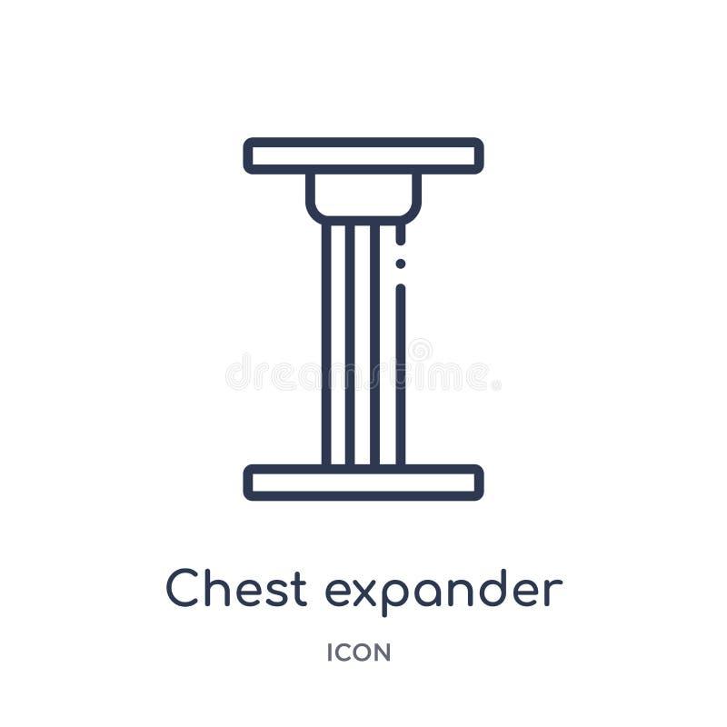 Het lineaire pictogram van de borstexpander van de inzameling van het Gezondheidsoverzicht Dun de expanderpictogram van de lijnbo vector illustratie