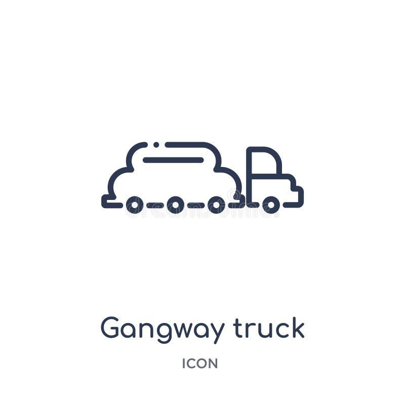 Het lineaire pictogram van de doorgangsvrachtwagen van inzameling van het Luchthaven de eindoverzicht Dunne die de vrachtwagenvec stock illustratie
