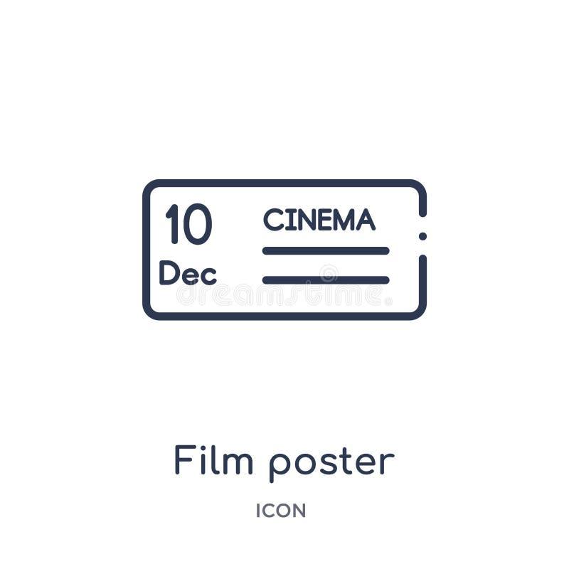 Het lineaire pictogram van de filmaffiche van de inzameling van het Bioskoopoverzicht Dunne de affichevector van de lijnfilm die  stock illustratie