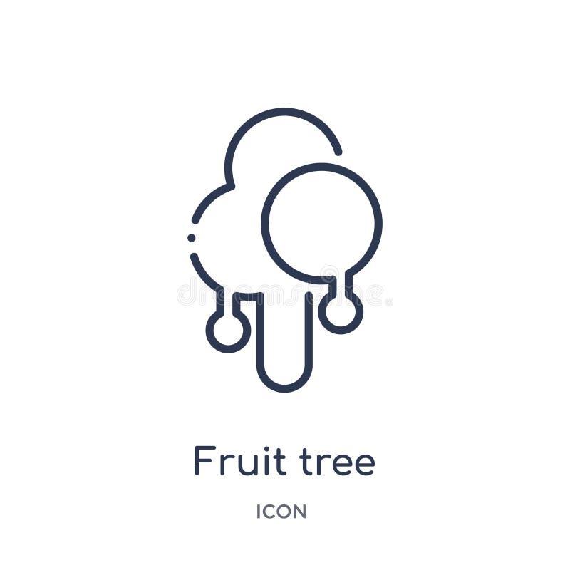 Het lineaire pictogram van de fruitboom van de inzameling van het Ecologieoverzicht Dunne de boomvector van het lijnfruit die op  royalty-vrije illustratie