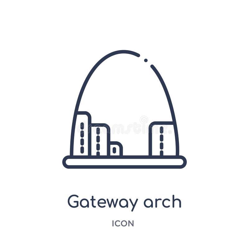 Het lineaire pictogram van de gatewayboog van Architectuur en de inzameling van het reisoverzicht Dunne de boogvector van de lijn vector illustratie
