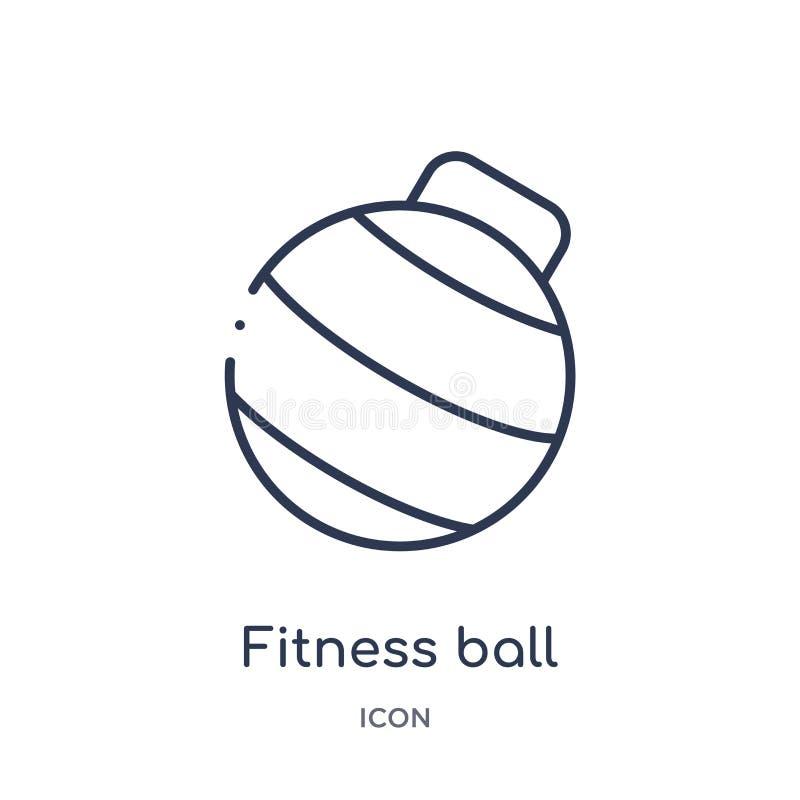 Het lineaire pictogram van de geschiktheidsbal van Gymnastiek en de inzameling van het geschiktheidsoverzicht Dun de balpictogram vector illustratie