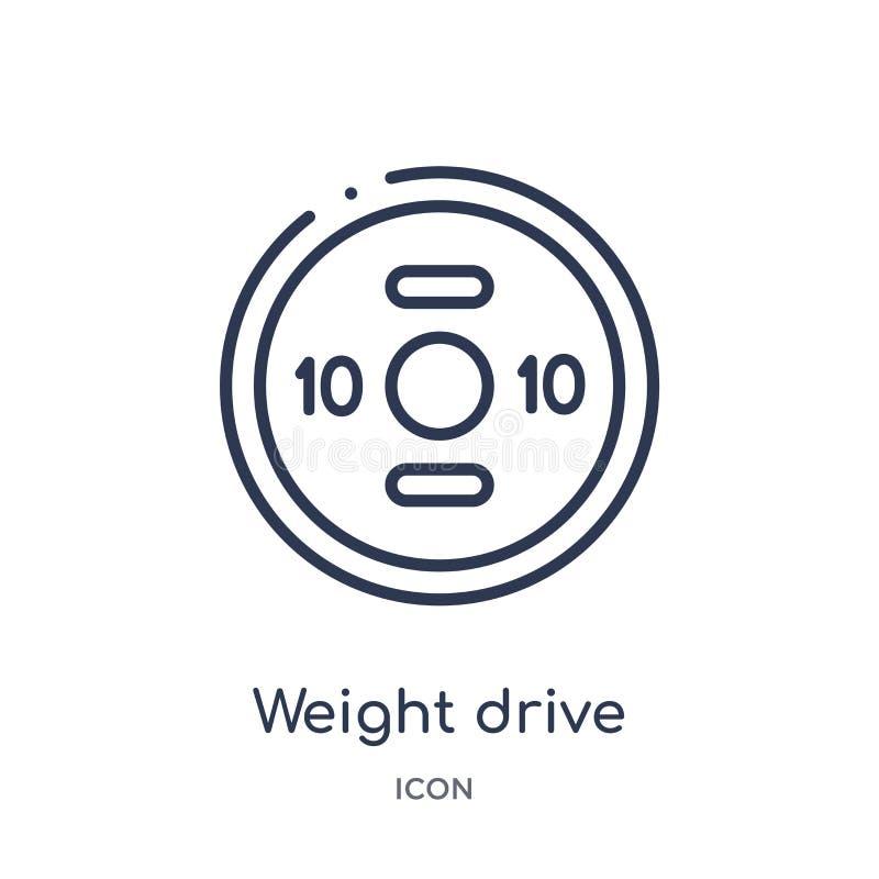 Het lineaire pictogram van de gewichtsaandrijving van Gymnastiek en de inzameling van het geschiktheidsoverzicht Het dunne die pi stock illustratie
