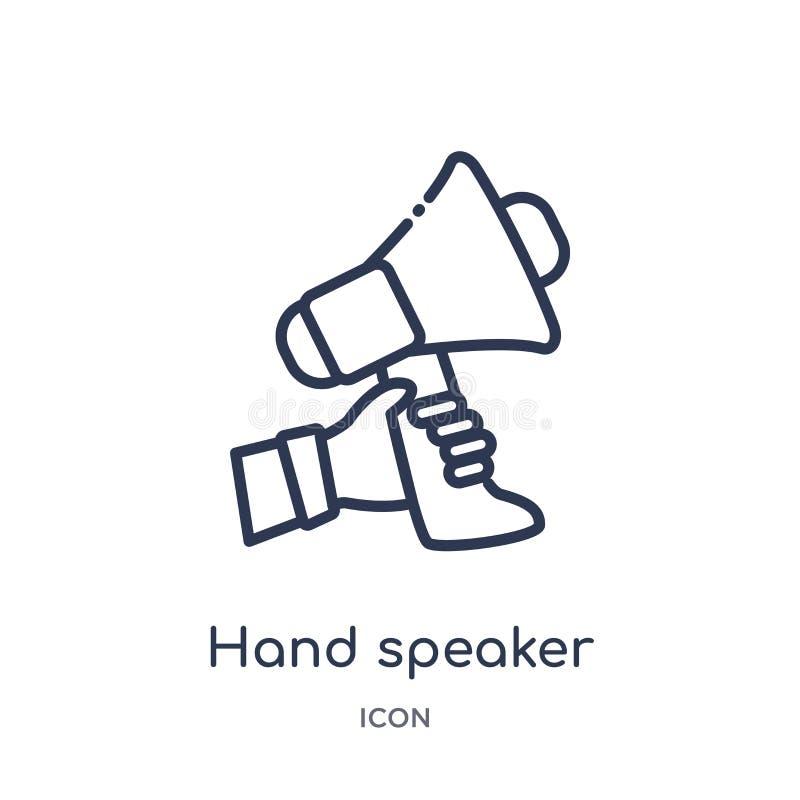 Het lineaire pictogram van de handspreker van Marketing overzichtsinzameling Dun die de sprekerspictogram van de lijnhand op witt vector illustratie