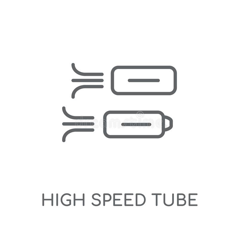 Het lineaire pictogram van de hoge snelheidsbuis Modern de buisembleem van de overzichtshoge snelheid royalty-vrije illustratie
