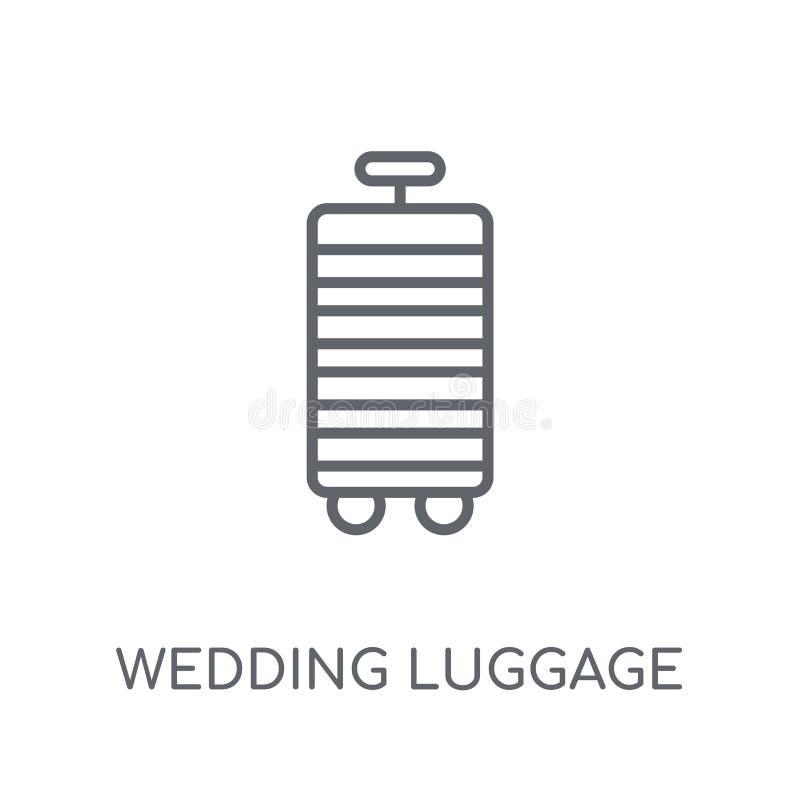 het lineaire pictogram van de huwelijksbagage Modern de Bagageembleem van het overzichtshuwelijk royalty-vrije illustratie