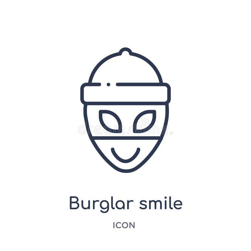 Het lineaire pictogram van de inbrekerglimlach van Emoji-overzichtsinzameling Dunne die de glimlachvector van de lijninbreker op  royalty-vrije illustratie