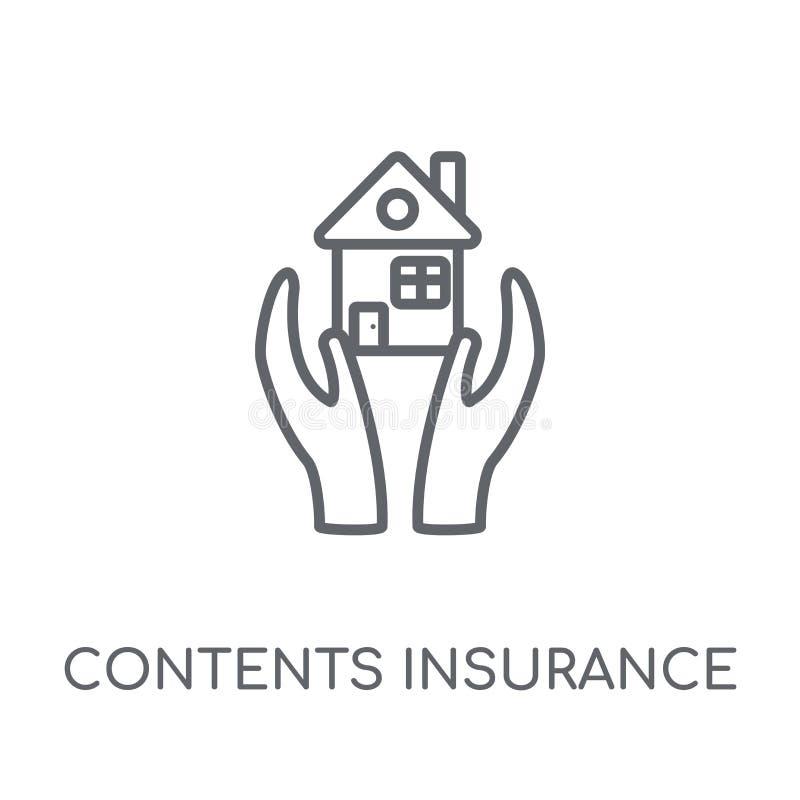 Het lineaire pictogram van de inhoudsverzekering Het moderne overzicht stelt insuranc tevreden royalty-vrije illustratie